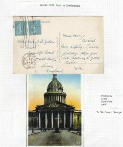FRANCE POST CARD 1938 PARIS TO MABLETHORPE , GARE SAINT LAZARE CANCEL