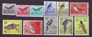 J23726 JLstamps 1967 burma set mlh/mh #o94-104 birds ovpts