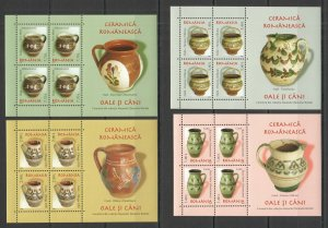 RM208 2007 ROMANIA ART CERAMICS POTTERY I PITCHERS MICHEL 39 EURO BL404-407 MNH