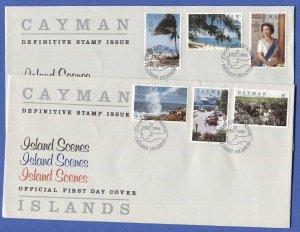 CAYMAN ISLANDS 1991 FDC Sc 636-647 Island Scenes + QEII set 4 covers, cv $56++