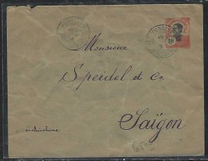 FRENCH INDOCHINA  (PP3008B) 1913  COVER PSE 10C  VUNGLLEN  TO SAIGON