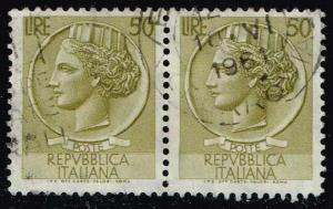 Italy #683 Italia from Syracusean Coin; Used Pair (0.50)