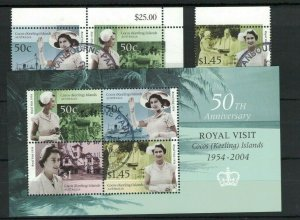 CK128) Cocos Keeling Islands 2004 Royal Visit + Minisheet CTO/Used