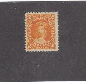 NEW BRUNSWICK # 7b VF-MNG 2cts 1863 QN VICTORIA /ORANGE /CENTS ISSUE-#02 CV $30