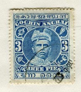 INDIA COCHIN;   1911-13 early Rama Varma issue fine used 3p. value