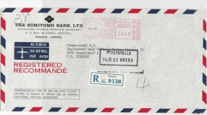 Japan 1980 The Sumitomo Bank Ltd Regd Airmail Meter Mail Stamp Cover Ref 29992