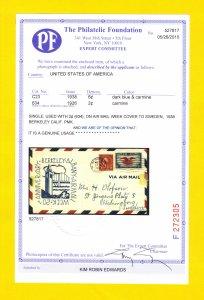 US Sc C23 Airmail Cachet Cover & Sc 634 PF Cert No.527817 CV $500