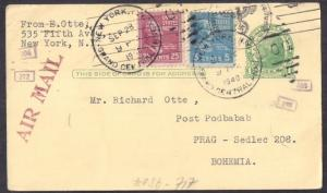 RARE AIRMAIL #UX27 to RICHARD OTTE top notch usage w #829 VF 1940 Interesting