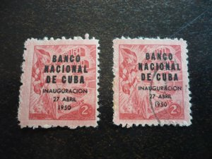 Stamps - Cuba - Scott#448 - Mint Hinged and Used Set of 2 Stamps - Overprinted