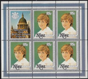 Niue 1981 MH Sc #341 Sheet of 5, label 95c Princess Diana Royal Wedding