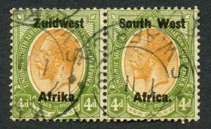 South West Africa SG20 4d Fine used Pair Cat 23 Pounds