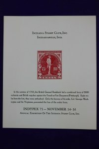 INDYPEX 1975 Indiana stamp club Indianapolis ID 688 reprint Souvenir card page