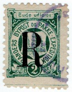 (I.B) Denmark Local Post : Randers 2 Ore (overprint)