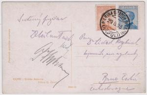 Italy to Brno, Czechoslovakia 1923 Postcard showing Grotta Azzurra