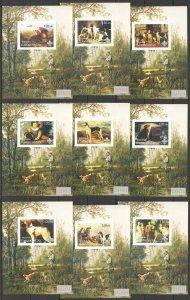 F0072 IMPERF 2001 TURKMENISTAN DOGS IN ART PAINTINGS FAUNA !!! 9BL MNH