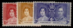 NORTHERN RHODESIA GVI SG22-24, CORONATION set, M MINT.