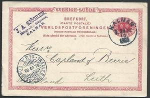 SWEDEN 1903 10 ore postcard used KALMAR to Scotland........................10581
