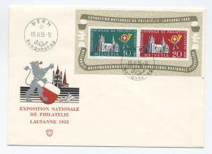 1955 Switzerland souvenir sheet Scott #352a first day cover [y2160]