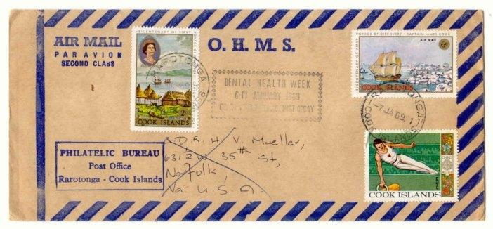 Cook Islands 1969 Dental Health Week O.H.M.S. cover to US
