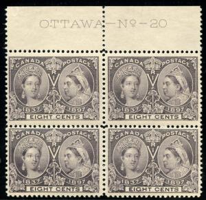CANADA SCOTT#56  8c JUBILEE MARGIN BLOCK  MINT NH -- HINGED IN MARGIN