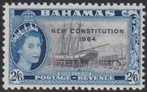 1964 Bahamas QE New Constitution 2/6 issue MLMH Sc# 197 CV $3.00