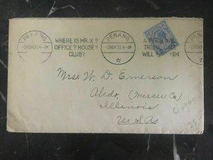 1933 Penang Straits Settlements Cover To Aledo IL Usa Slogan Cancel Where Mr X