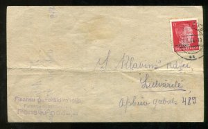 p181 - LATVIA Germany Occupation Ostland 1944 Hitler Overprint on Cover Document
