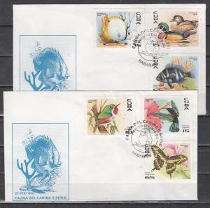 Caribbean Area, Scott cat. 3748-3753. Fauna & B/fly issue. 2 First Day Covers.