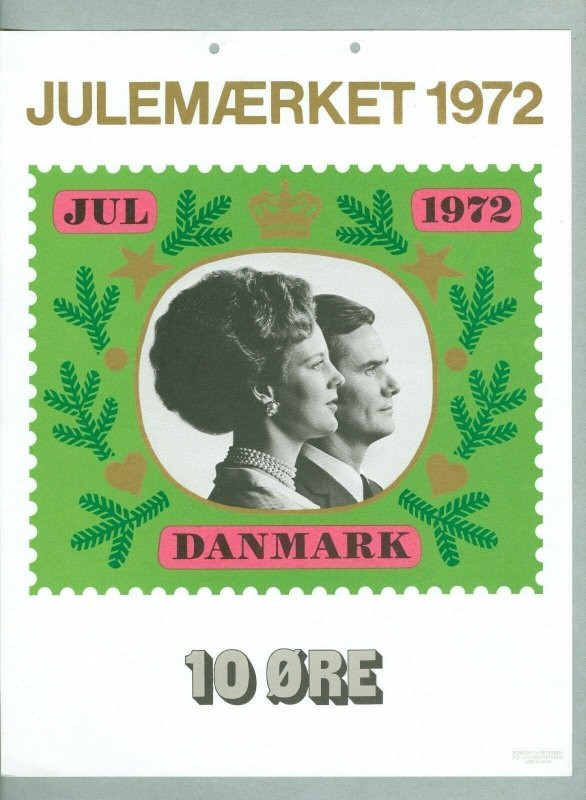 Denmark.1 Post Office,Display,Advertising Sign.Queen,Prince. Christmas Seal 1972