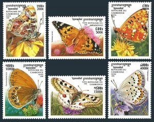 Cambodia MNH 1825-30 Butterflies Insects 1999
