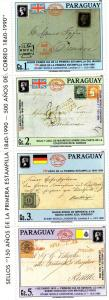 Paraguay 1990 105th.Anniversary First stamp strip Perforated mnh.vf