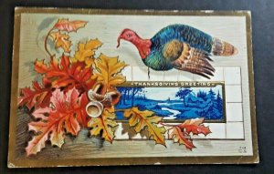 1913 Fort Worth TX To Los Angeles CA Thanksgiving Embossed Postcard Cover