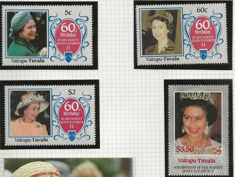 VAITUPU-TUVALU 1986 60TH BIRTHDAY QUEEN ELIZABETH,SET OF 4 STAMPS