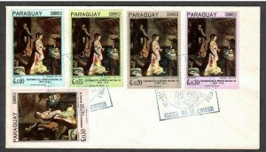 Paraguay # 1008 - # 1012 Christmas Birth of Christ FDC - I Combine S/H