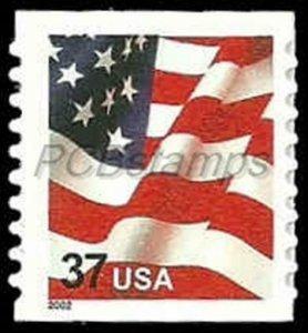 US #3632  37c Flag, coil, die cut 9.75, 2002, MNH, (A-1)