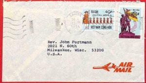 aa2294  - VIETNAM -  Postal History -  AIRMAIL to USA  1974