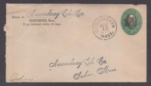 **US 19th Cent Scarce Postal Sta Cover, Glouster MA,8/15/1895 CDS 6 Pt Star F/C