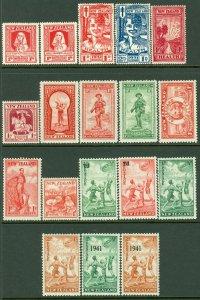 EDW1949SELL : NEW ZEALAND 1929-41 Scott #B1-4, 6-19 Complete VF, MOG. Cat $333