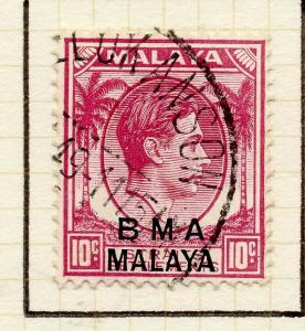 Malaya Straights Settlements 1945 Early Shade of Used 10c. BMA Optd 307956