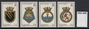 Gibraltar 492-5 Navy Crests mnh