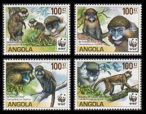 Angola WWF Monkeys Guenons 4v