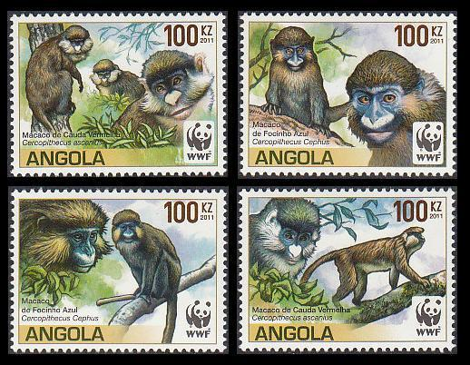 Angola WWF Monkeys Guenons set of 4
