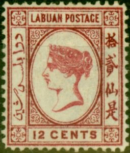 Labuan 1880 12c Carmine SG9aVar No Right Foot to 2nd Character Wmk Reversed F...