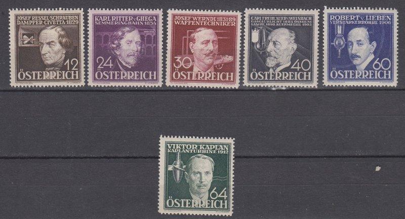 J29464, 1936 austria set mh #b146-51 famous people