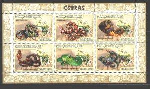 Mozambique. 2007. ml 2998-3003. Snakes, fauna. MNH.
