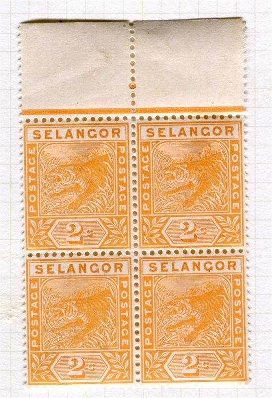 MALAYA SELANGOR;  1891 classic Tiger issue fine Mint hinged 2c. BLOCK