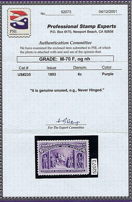 SC# 235 UNUSED ORIGINAL GUM MNH 6 CENT COLUMBIAN, 1893, PSE CERT GRADED FINE