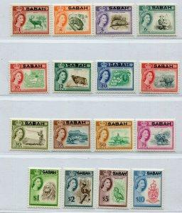 QEII 1961 SABAH OVERPRINT ON NORTH BORNEO LOVELY SET SCOTT 1-16 PERFECT MVLH