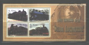 ST. KITTS 2004 TRAINS M.S.. #595 MNH