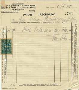 SERBIA 1928 NICE CLEAN INVOICE WITH 20 PARA TAX STAMP